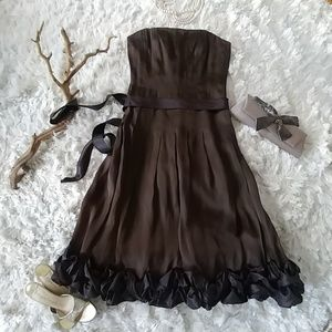 Whimsical chocolate brown Kay Unger ruffle dress